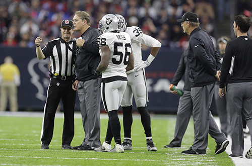<div class='meta'><div class='origin-logo' data-origin='AP'></div><span class='caption-text' data-credit='AP Photo/Eric Gay'>Oakland Raiders head coach Jack Del Rio speaks with officials during the first half of an AFC Wild Card NFL football game.</span></div>