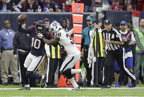 <div class='meta'><div class='origin-logo' data-origin='AP'></div><span class='caption-text' data-credit='AP Photo/Eric Gay'>Houston Texans wide receiver DeAndre Hopkins (10) runs against Oakland Raiders strong safety T.J. Carrie (38) during the first half.</span></div>