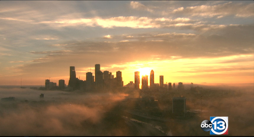 "<div class=""meta image-caption""><div class=""origin-logo origin-image none""><span>none</span></div><span class=""caption-text"">The sun came breaking through the clouds Friday to illuminate the fog covering the Houston skyline. </span></div>"