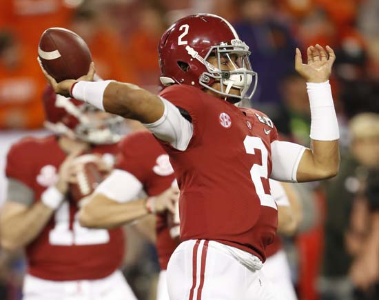 "<div class=""meta image-caption""><div class=""origin-logo origin-image ap""><span>AP</span></div><span class=""caption-text"">Alabama's Jalen Hurts warms up before the NCAA college football playoff championship game against Clemson Monday, Jan. 9, 2017, in Tampa, Fla. (AP Photo/John Bazemore) (AP)</span></div>"