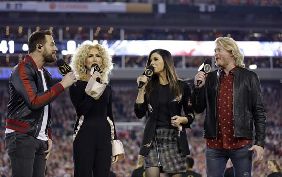 "<div class=""meta image-caption""><div class=""origin-logo origin-image ap""><span>AP</span></div><span class=""caption-text"">Little Big Town performs the national anthem before the NCAA college football playoff championship game between Alabama and Clemson. (AP Photo/David J. Phillip) (AP)</span></div>"
