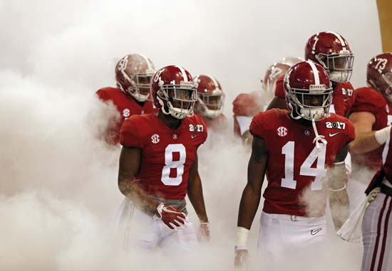 "<div class=""meta image-caption""><div class=""origin-logo origin-image ap""><span>AP</span></div><span class=""caption-text"">Alabama players are introduced before the NCAA college football playoff championship game against Clemson Monday, Jan. 9, 2017, in Tampa, Fla. (AP Photo/John Bazemore) (AP)</span></div>"