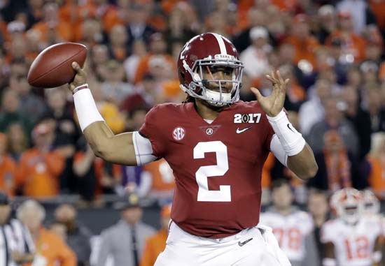 "<div class=""meta image-caption""><div class=""origin-logo origin-image ap""><span>AP</span></div><span class=""caption-text"">Alabama's Jalen Hurts throws during the first half of the NCAA college football playoff championship game against Clemson. (AP Photo/David J. Phillip) (AP)</span></div>"