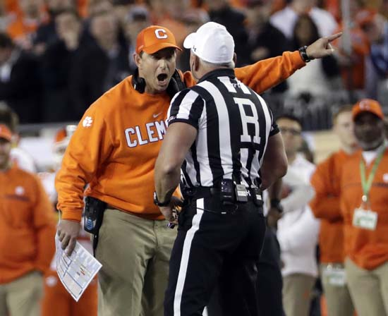 "<div class=""meta image-caption""><div class=""origin-logo origin-image ap""><span>AP</span></div><span class=""caption-text"">Clemson head coach Dabo Swinney argues a call during the first half of the NCAA college football playoff championship game. (AP Photo/David J. Phillip) (AP)</span></div>"
