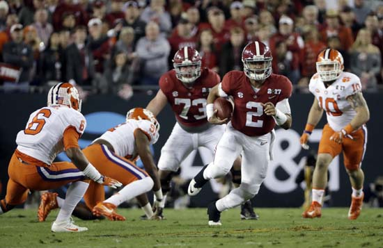 "<div class=""meta image-caption""><div class=""origin-logo origin-image ap""><span>AP</span></div><span class=""caption-text"">Alabama's Jalen Hurts runs during the first half of the NCAA college football playoff championship game against Clemson. (AP Photo/David J. Phillip) (AP)</span></div>"