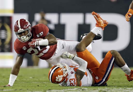 "<div class=""meta image-caption""><div class=""origin-logo origin-image ap""><span>AP</span></div><span class=""caption-text"">Alabama's Joshua Jacobs runs for a first down during the first half of the NCAA college football playoff championship game against Clemson. (AP Photo/Chris O'Meara) (AP)</span></div>"