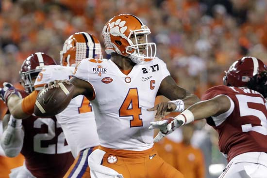 "<div class=""meta image-caption""><div class=""origin-logo origin-image ap""><span>AP</span></div><span class=""caption-text"">Clemson's Deshaun Watson throws during the first half of the NCAA college football playoff championship game against Alabama. (AP Photo/David J. Phillip) (AP)</span></div>"