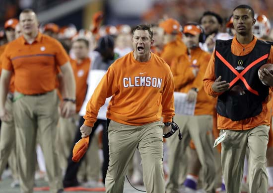 "<div class=""meta image-caption""><div class=""origin-logo origin-image ap""><span>AP</span></div><span class=""caption-text"">Clemson head coach Dabo Swinney reacts during the first half of the NCAA college football playoff championship game. (AP Photo/Chris O'Meara) (AP)</span></div>"