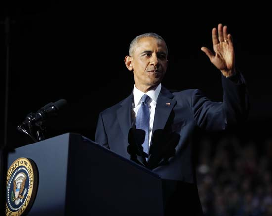 <div class='meta'><div class='origin-logo' data-origin='AP'></div><span class='caption-text' data-credit='AP'>President Barack Obama waves as he speaks during his farewell address at McCormick Place in Chicago, Tuesday, Jan. 10, 2017. (AP Photo/Pablo Martinez Monsivais)</span></div>