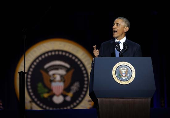 <div class='meta'><div class='origin-logo' data-origin='AP'></div><span class='caption-text' data-credit='AP'>President Barack Obama speaks during his farewell address at McCormick Place in Chicago, Tuesday, Jan. 10, 2017. (AP Photo/Pablo Martinez Monsivais)</span></div>