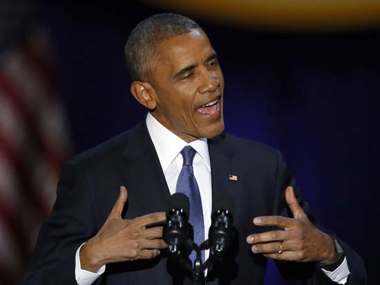 <div class='meta'><div class='origin-logo' data-origin='AP'></div><span class='caption-text' data-credit='AP'>President Barack Obama speaks at McCormick Place in Chicago, Tuesday, Jan. 10, 2017, giving his presidential farewell address. (AP Photo/Charles Rex Arbogast)</span></div>