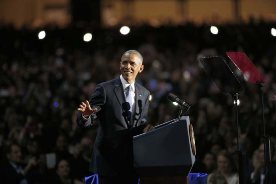 <div class='meta'><div class='origin-logo' data-origin='AP'></div><span class='caption-text' data-credit='AP'>President Barack Obama speaks at McCormick Place in Chicago, Tuesday, Jan. 10, 2017, giving his presidential farewell address. (AP Photo/Nam Y. Huh)</span></div>