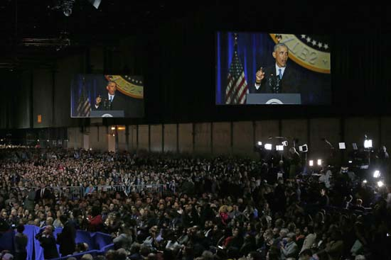 <div class='meta'><div class='origin-logo' data-origin='AP'></div><span class='caption-text' data-credit='AP'>Supporters listen as President Barack Obama speaks at McCormick Place in Chicago, Tuesday, Jan. 10, 2017, giving his presidential farewell address. (AP Photo/Nam Y. Huh)</span></div>