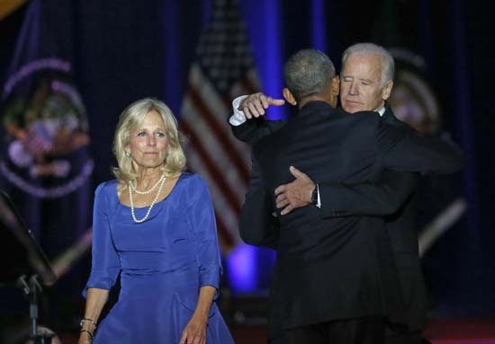 <div class='meta'><div class='origin-logo' data-origin='AP'></div><span class='caption-text' data-credit='AP'>President Barack Obama is greeted by Vice President Joe Biden, right, and Dr. Jill Biden after giving his presidential farewell address. (AP Photo/Charles Rex Arbogast)</span></div>
