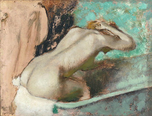 "<div class=""meta image-caption""><div class=""origin-logo origin-image none""><span>none</span></div><span class=""caption-text"">Edgar Degas, Woman Seated on the Edge of the Bath Sponging Her Neck, 1880-95, oil and essence on paper mounted to canvas, Musée d'Orsay, Paris. © RMN-Grand Palais (Musée d'Orsay)  (Courtesy Museum of Fine Arts, Houstoun)</span></div>"