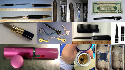 "<div class=""meta image-caption""><div class=""origin-logo origin-image none""><span>none</span></div><span class=""caption-text"">TSA officers confiscated knives hidden in belt buckles, pens, lipstick cases, keys, combs, flashlights and pill bottles.  (TSA)</span></div>"