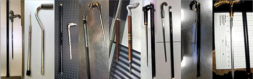 "<div class=""meta image-caption""><div class=""origin-logo origin-image none""><span>none</span></div><span class=""caption-text"">TSA representatives confiscated several cane swords in carry-on baggage in 2016. (TSA)</span></div>"