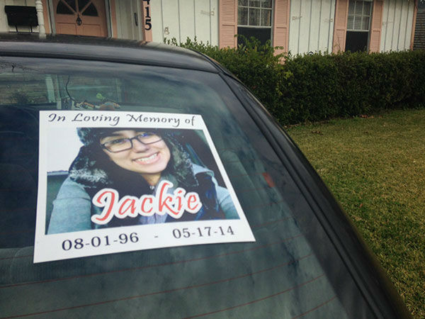 <div class='meta'><div class='origin-logo' data-origin='none'></div><span class='caption-text' data-credit='Photo/ABC-13'>This is a photo on Gomez's mother's car to remember her daughter</span></div>