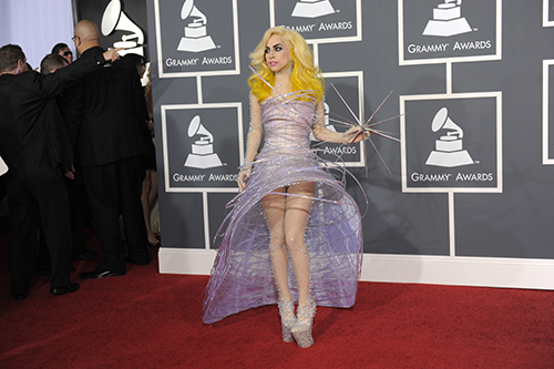 <div class='meta'><div class='origin-logo' data-origin='AP'></div><span class='caption-text' data-credit='AP Photo/Chris Pizzello'>Lady Gaga arrives at the Grammy Awards on Sunday, Jan. 31, 2010, in Los Angeles.</span></div>