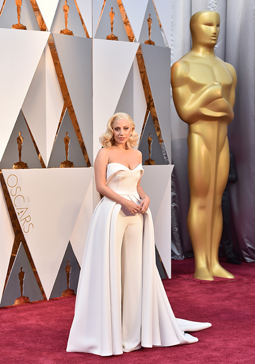 <div class='meta'><div class='origin-logo' data-origin='AP'></div><span class='caption-text' data-credit='Jordan Strauss/Invision/AP'>Lady Gaga arrives at the Oscars on Sunday, Feb. 28, 2016, at the Dolby Theatre in Los Angeles.</span></div>