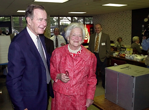 <div class='meta'><div class='origin-logo' data-origin='AP'></div><span class='caption-text' data-credit='AP Photo/David J. Phillip'>Former President Bush and former first lady Barbara Bush leave after voting in the Texas primary Tuesday, March 14, 2000 in Houston.</span></div>