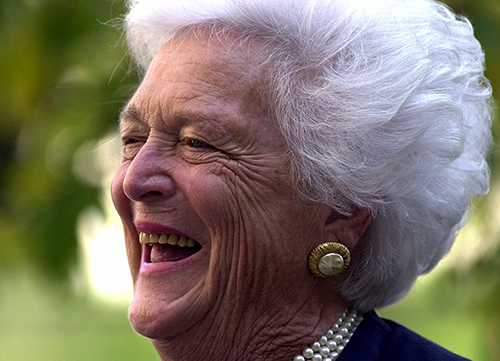 <div class='meta'><div class='origin-logo' data-origin='AP'></div><span class='caption-text' data-credit='AP Photo/Dan Loh'>Former first lady Barbara Bush smiles during a light moment Thursday, Oct. 19, 2000, at the Fox Chase Cancer Center in Philadelphia while campaigning for her son.</span></div>