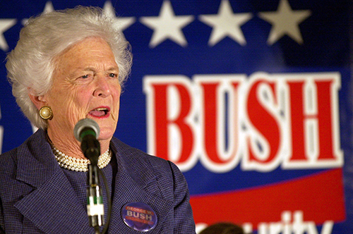 <div class='meta'><div class='origin-logo' data-origin='AP'></div><span class='caption-text' data-credit='AP Photo/Mike Roemer'>Former first lady Barbara Bush campaigns for her son, Texas Gov. George W. Bush Saturday Nov. 4, 2000 at Bishops Court Retirement Center in Green Bay, Wis. during a campaign stop.</span></div>