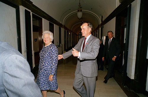 <div class='meta'><div class='origin-logo' data-origin='AP'></div><span class='caption-text' data-credit='AP Photo/David J. Philip'>Former President George Bush gives thumbs up after he and his wife, Barbara Bush voted on Wednesday, Nov. 2, 1994, in Houston.</span></div>