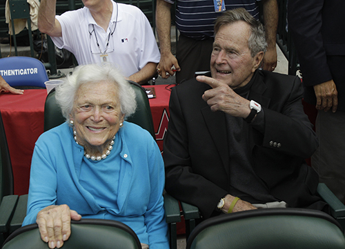 <div class='meta'><div class='origin-logo' data-origin='AP'></div><span class='caption-text' data-credit='AP Photo/Pat Sullivan'>Former President George H.W. Bush and his wife Barbara arrive at the Houston Astros baseball game against the Colorado Rockies on opening day Friday, April 6, 2012, in Houston.</span></div>