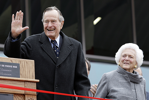 <div class='meta'><div class='origin-logo' data-origin='AP'></div><span class='caption-text' data-credit='AP Photo/Eric Gay, File'>ormer President George H.W. Bush and former first lady Barbara Bush arrive for a ceremony to dedicate an expanded gallery at the National Museum of the Pacific War in 2002.</span></div>
