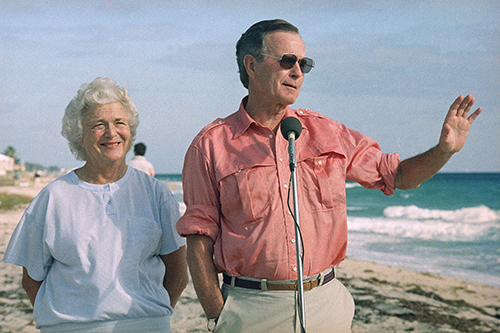 <div class='meta'><div class='origin-logo' data-origin='AP'></div><span class='caption-text' data-credit='AP Photo/Kathy Willens'>President-elect George Bush and wife Barbara during a beach front news conference, Monday, Nov. 14, 1988 in Gulf Stream, Fla.</span></div>