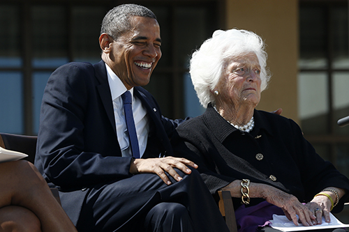 <div class='meta'><div class='origin-logo' data-origin='AP'></div><span class='caption-text' data-credit='AP Photo/Charles Dharapak'>President Barack Obama shares a laugh with former first lady Barbara Bush at the dedication of the George W. Bush presidential library in Dallas.</span></div>
