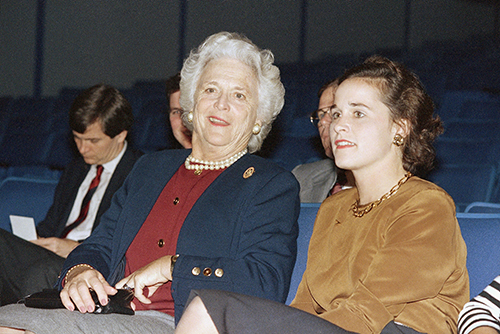 <div class='meta'><div class='origin-logo' data-origin='AP'></div><span class='caption-text' data-credit='AP Photo/John Duricka'>Mrs. Barbara Bush, left, the wife of President-elect George Bush, sits with her daughter Dorothy Bush LeBlond, during the President-elect's news conference, Wednesday, Nov. 9, 1988</span></div>