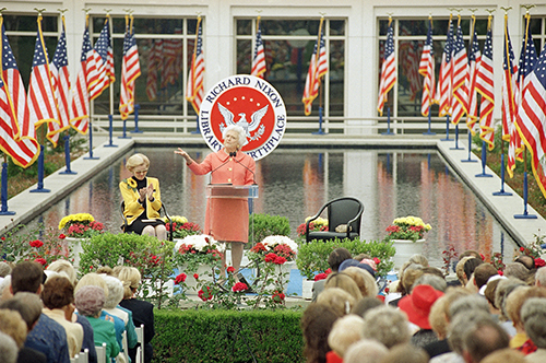 <div class='meta'><div class='origin-logo' data-origin='AP'></div><span class='caption-text' data-credit='AP Photo/Nick Ut'>Former first lady Barbara Bush speaks to a crowd of about 1,400 people in the rose garden of the Richard Nixon Presidential Library Friday, April 22, 1994.</span></div>