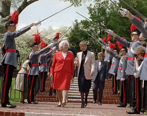 <div class='meta'><div class='origin-logo' data-origin='AP'></div><span class='caption-text' data-credit='AP Photo/Chris Gardner'>Former first lady Barbara Bush is escorted through a row of honor guards with their swords drawn beforean award ceremony at the Valley Forge Military Academy Tuesday, May 7, 1996.</span></div>