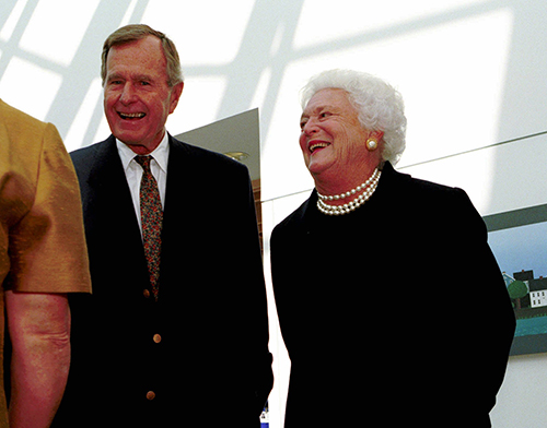 <div class='meta'><div class='origin-logo' data-origin='AP'></div><span class='caption-text' data-credit='AP Photo/Joan Seidel'>Former President Bush and his wife, Barbara, enjoy a tour of the new Barbara Bush Children's Hospital at Maine Medical Center Saturday, Sept. 19, 1998, in Portland, Maine.</span></div>