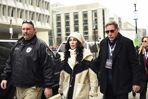 <div class='meta'><div class='origin-logo' data-origin='AP'></div><span class='caption-text' data-credit='AP Photo/Sait Serkan Gurbuz'>Cher arrives for the Women's March on Washington on Independence Ave. on Saturday, Jan. 21, 2017 in Washington.</span></div>