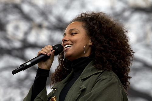 <div class='meta'><div class='origin-logo' data-origin='AP'></div><span class='caption-text' data-credit='AP Photo/Jose Luis Magana'>Alicia Keys performs during the Women's March on Washington, Saturday, Jan. 21, 2017 in Washington.</span></div>