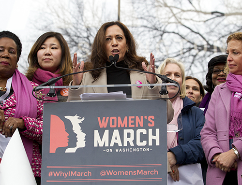 <div class='meta'><div class='origin-logo' data-origin='AP'></div><span class='caption-text' data-credit='AP Photo/Jose Luis Magana'>Sen. Kamala Harris, D-Calif., speaks during the Women's March on Washington, Saturday, Jan. 21, 2017 in Washington.</span></div>