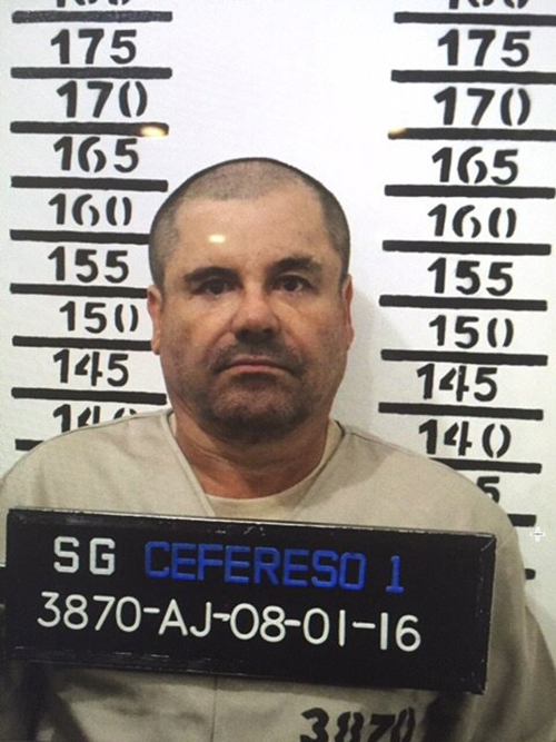 "<div class=""meta image-caption""><div class=""origin-logo origin-image ap""><span>AP</span></div><span class=""caption-text"">FILE - In this Jan. 8, 2016 file photo released by Mexico's federal government, Mexico's drug lord Joaquin ""El Chapo"" Guzman stands for his prison mug shot. (Mexico's federal government via AP, File)</span></div>"