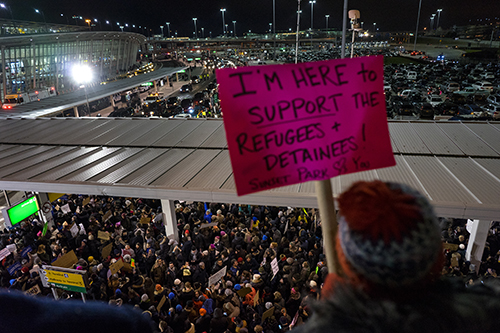 <div class='meta'><div class='origin-logo' data-origin='AP'></div><span class='caption-text' data-credit='AP Photo/Craig Ruttle'>Protesters assemble at John F. Kennedy International Airport, Saturday, Jan. 28, 2017 after earlier in the day two Iraqi refugees were detained while trying to enter the country.</span></div>