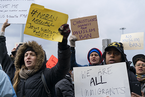 "<div class=""meta image-caption""><div class=""origin-logo origin-image ap""><span>AP</span></div><span class=""caption-text"">Protesters assemble at John F. Kennedy International Airport in New York, Saturday, Jan. 28, 2017 after two Iraqi refugees were detained while trying to enter the country. (AP Photo/Craig Ruttle)</span></div>"