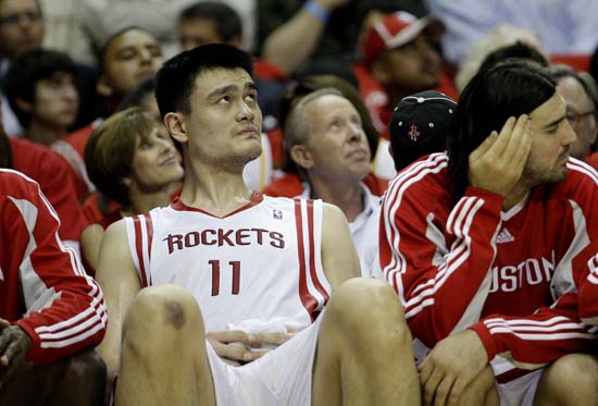 """<div class=""""meta image-caption""""><div class=""""origin-logo origin-image ktrk""""><span>KTRK</span></div><span class=""""caption-text"""">Houston Rockets center Yao Ming, of China, sits on the bench  during the fourth quarter of Game 3 of a second-round Western Conference playoff basketball game. (AP Photo/Eric Gay) (ASSOCIATED PRESS)</span></div>"""