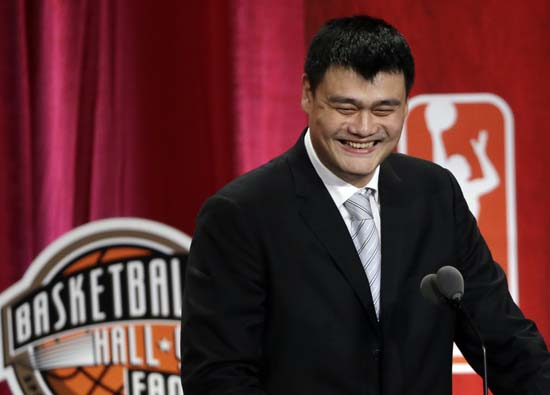 """<div class=""""meta image-caption""""><div class=""""origin-logo origin-image ktrk""""><span>KTRK</span></div><span class=""""caption-text"""">Basketball Hall of Fame inductee Yao Ming speaks during induction ceremonies, Friday, Sept. 9, 2016, in Springfield, Mass. (AP Photo/Elise Amendola) (AP)</span></div>"""
