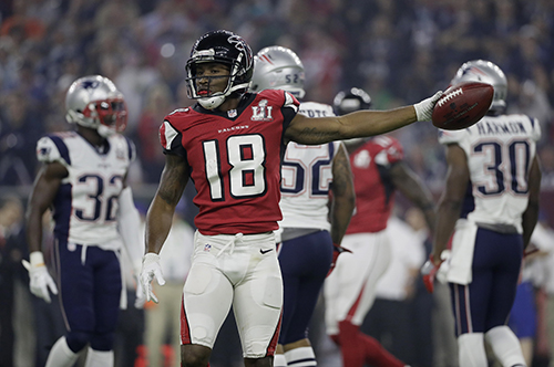 <div class='meta'><div class='origin-logo' data-origin='AP'></div><span class='caption-text' data-credit='AP'>Atlanta Falcons' Taylor Gabriel celebrates after a pass reception during the second half of the NFL Super Bowl 51 football game against the New England Patriots.</span></div>