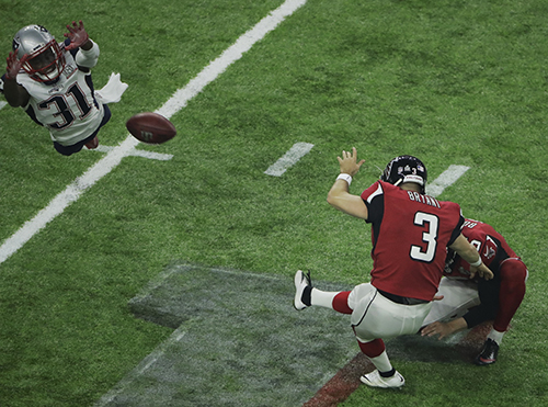 <div class='meta'><div class='origin-logo' data-origin='AP'></div><span class='caption-text' data-credit='AP'>New England Patriots' Jonathan Jones, left, fails to block an extra point kick by Atlanta Falcons' Matt Bryant during the second half of the NFL Super Bowl 51 football game.</span></div>