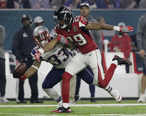 <div class='meta'><div class='origin-logo' data-origin='AP'></div><span class='caption-text' data-credit='AP'>Atlanta Falcons' C.J. Goodwin breaks up a pass intended for New England Patriots' Dion Lewis (33) during the second half of the NFL Super Bowl 51 football game Sunday, Feb. 5, 2017</span></div>