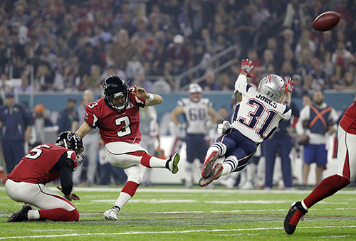 <div class='meta'><div class='origin-logo' data-origin='AP'></div><span class='caption-text' data-credit='AP'>Atlanta Falcons' Matt Bryant kicks an extra point during the second half of the NFL Super Bowl 51 football game against the New England Patriots Sunday, Feb. 5, 2017.</span></div>