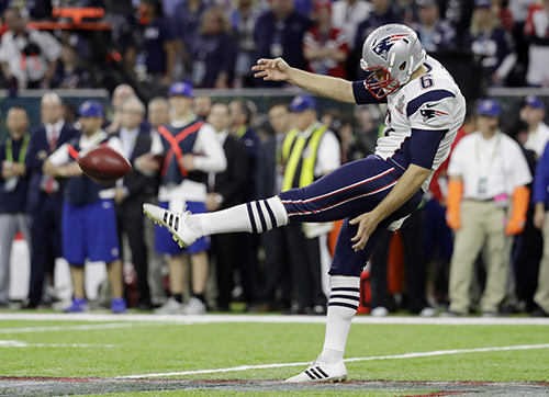 <div class='meta'><div class='origin-logo' data-origin='AP'></div><span class='caption-text' data-credit='AP'>New England Patriots' Ryan Allen punts against the Atlanta Falcons during the first half of the NFL Super Bowl 51 football game Sunday, Feb. 5, 2017, in Houston.</span></div>