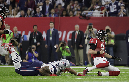<div class='meta'><div class='origin-logo' data-origin='AP'></div><span class='caption-text' data-credit='AP'>Atlanta Falcons' Matt Ryan (2) slides against New England Patriots' Alan Branch (97) during the first half of the NFL Super Bowl 51 football game Sunday, Feb. 5, 2017, in Houston.</span></div>